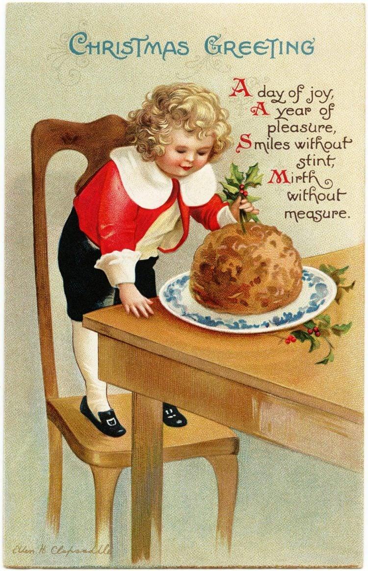 Christmas plum pudding vintage postcard