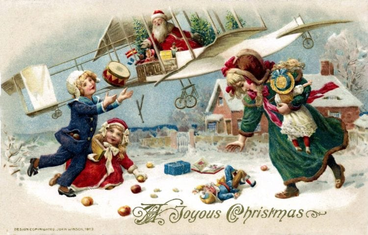 Christmas postcards with Santa 1913