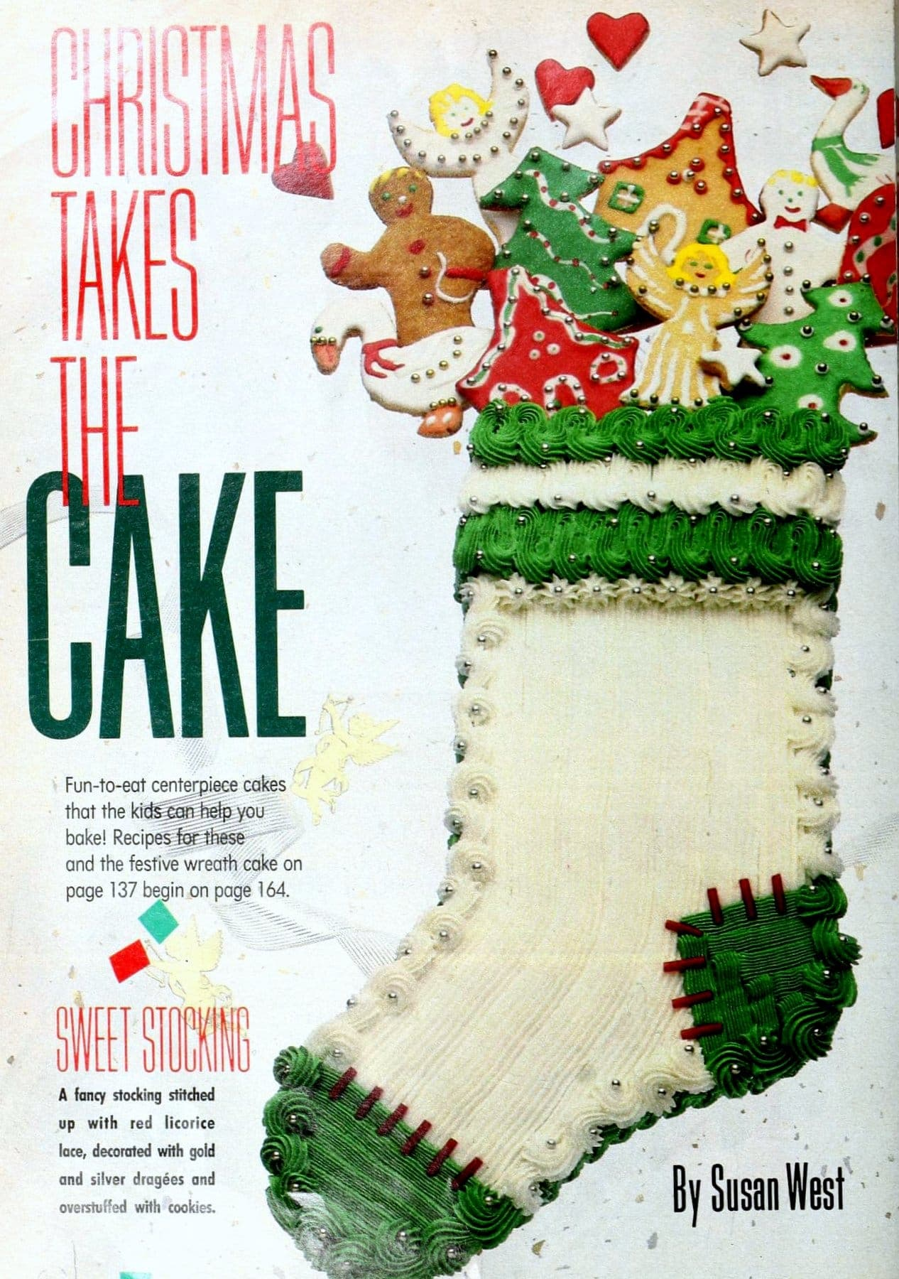 Cool and creative retro decorated Christmas cakes from the 1980s - Stocking