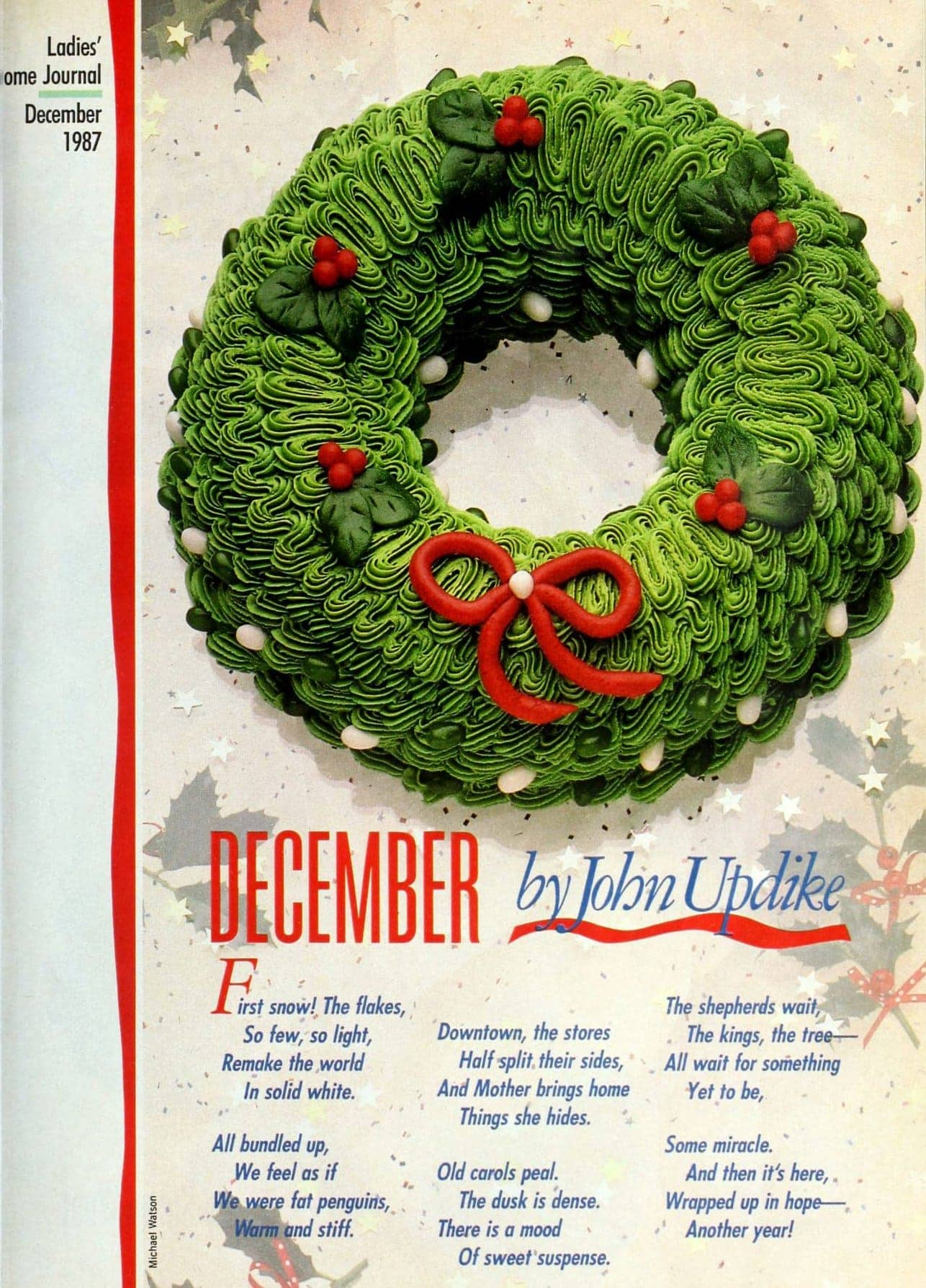 Cool and creative retro decorated Christmas cakes from the 1980s - Wreath