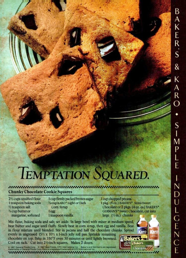 Chunky chocolate cookie squares (1987)