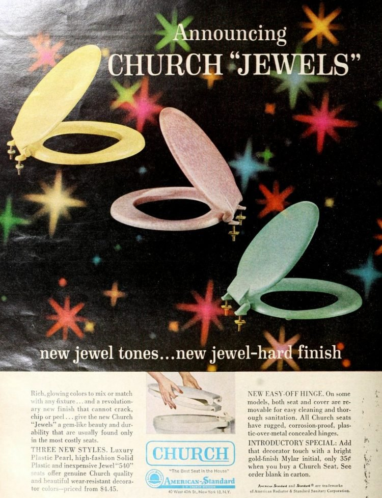 Church jewels toilet seats from the 1960s - Bad vintage product names at Click Americana