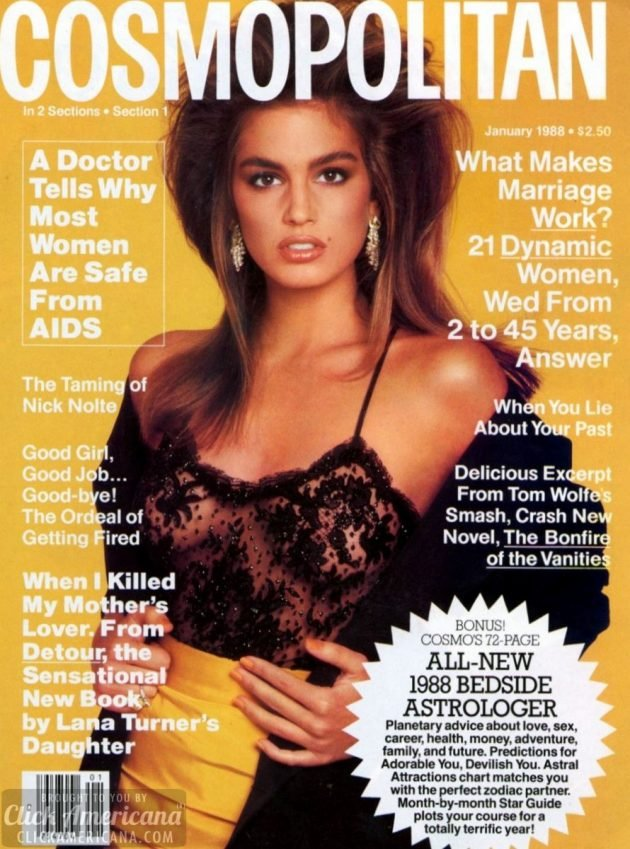Cindy Crawford cosmopolitan cover jan 1988