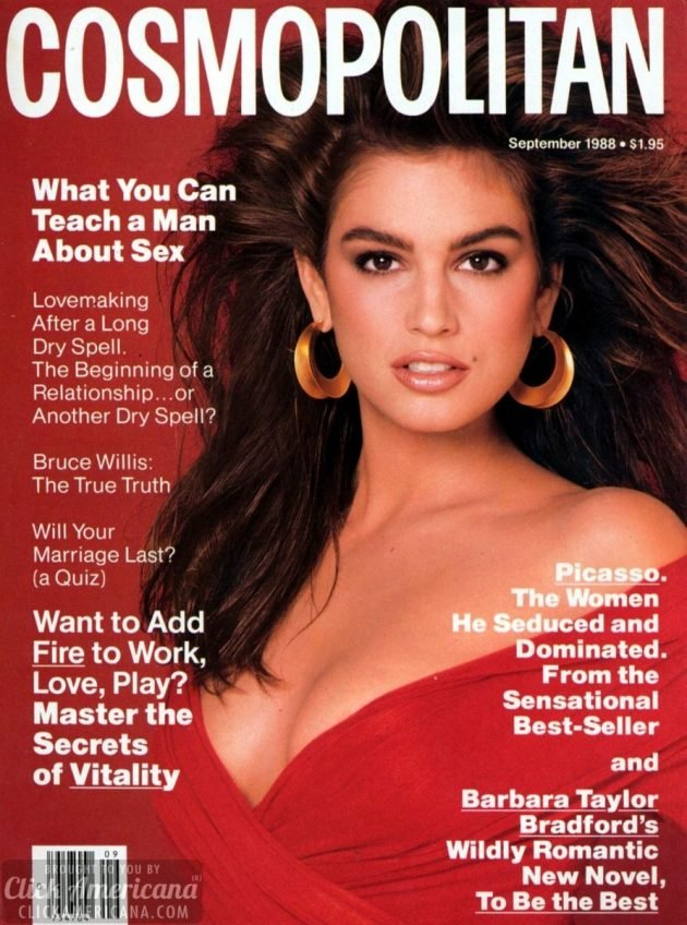 Cindy Crawford's Cosmopolitan & Vogue covers of the 1980s - Click ...
