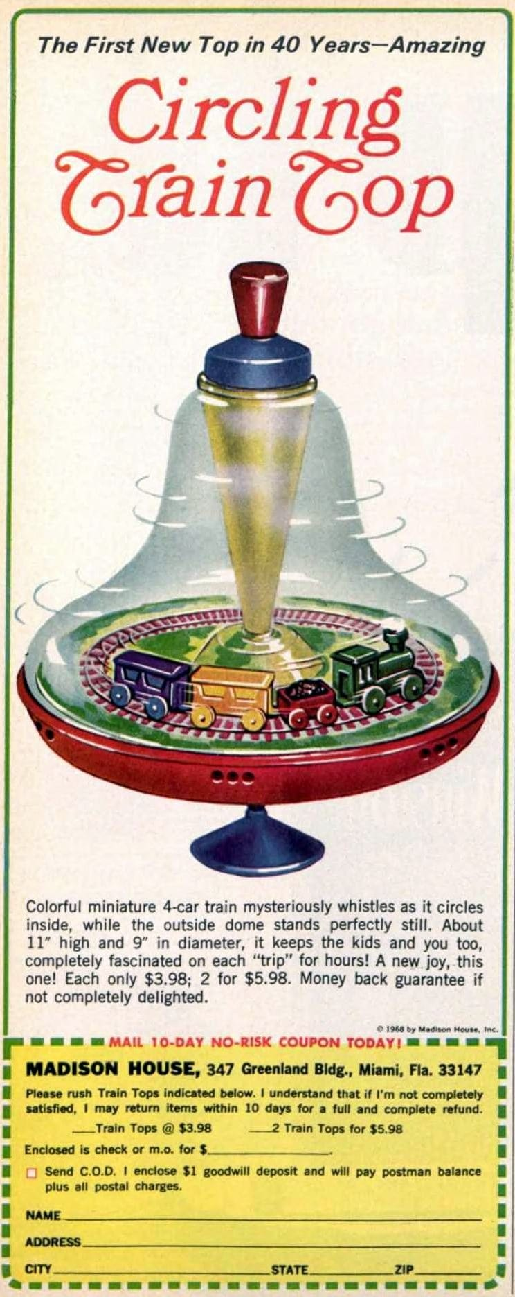 Circling train top - Vintage toy from 1968