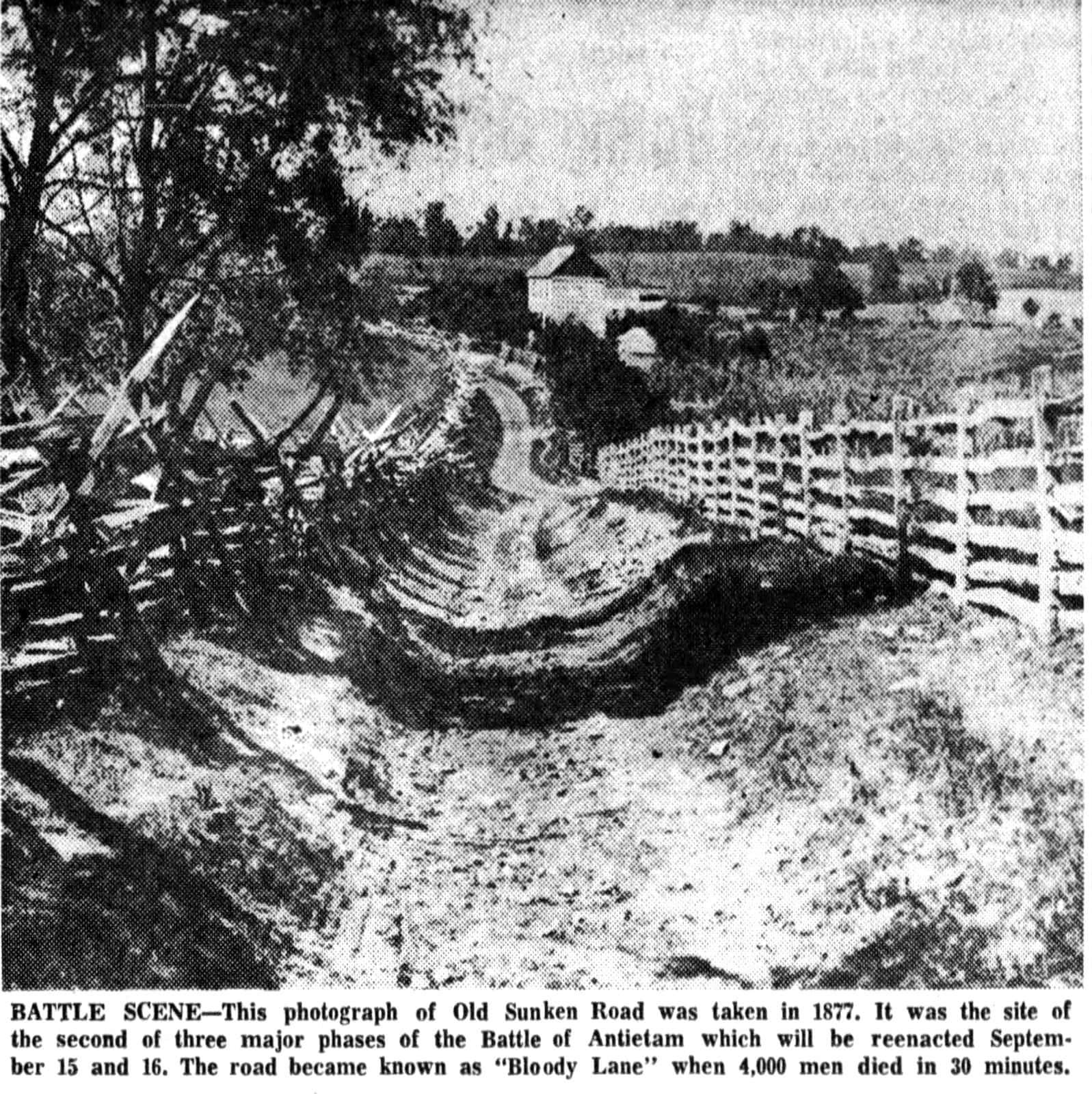 Civil War battle scene - Old Sunken Road, Antietam - Bloody Lane (1877)