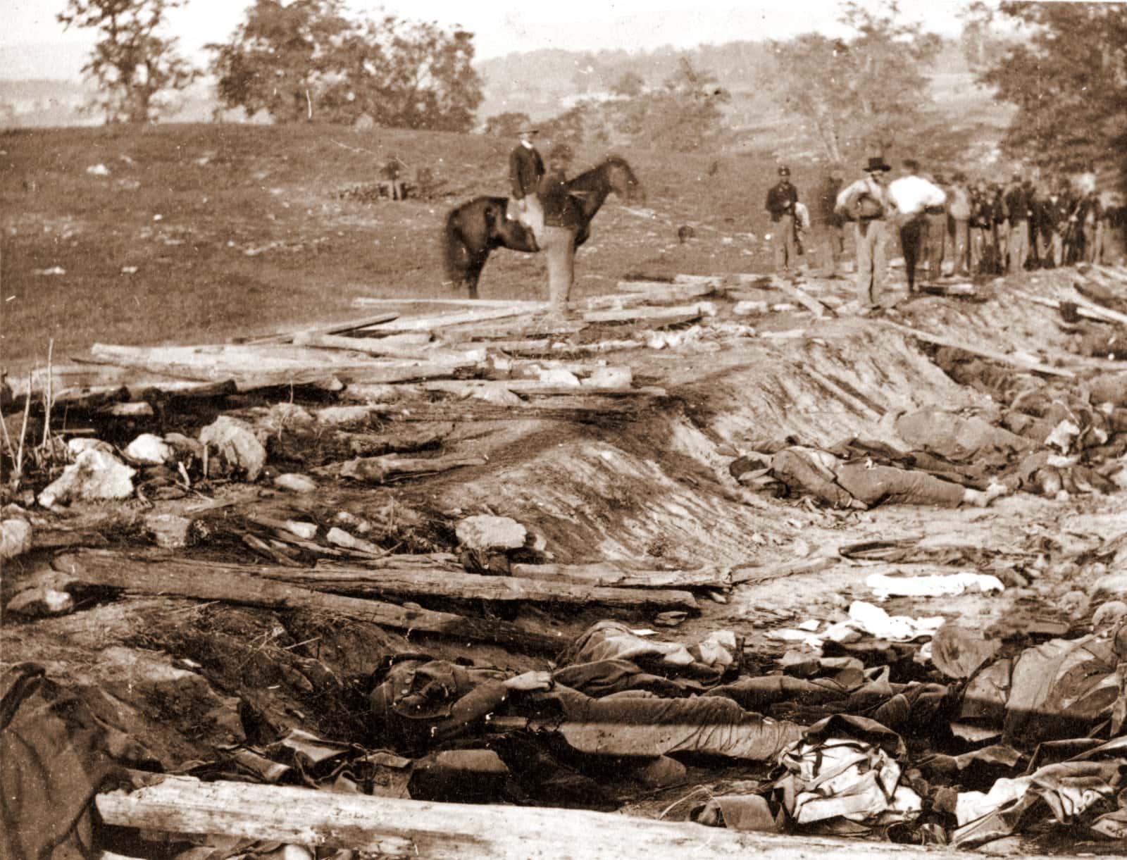 Civil War battle scene - Old Sunken Road, Antietam - Bloody Lane with dead soldiers