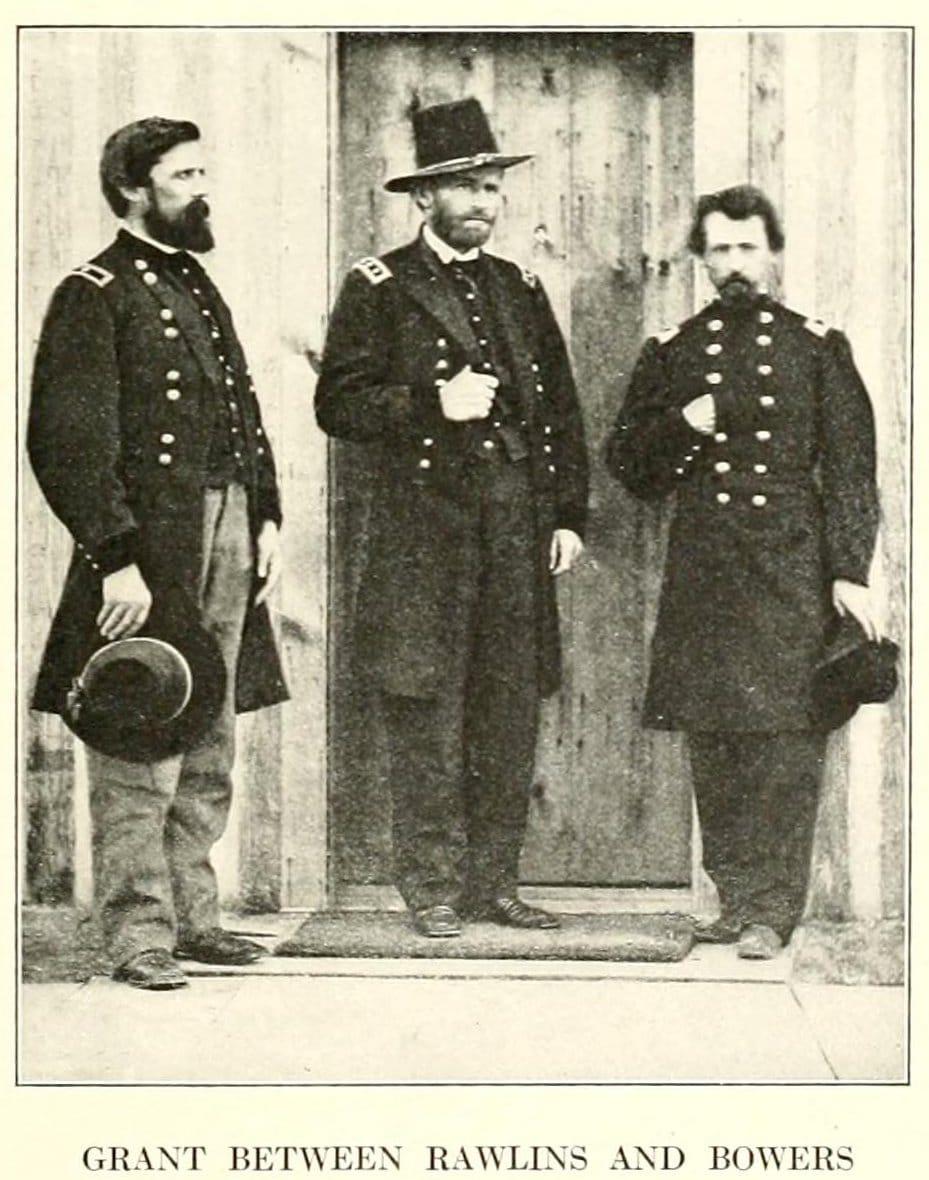 Civil War surrender - Grant between Rawlins and Bowers
