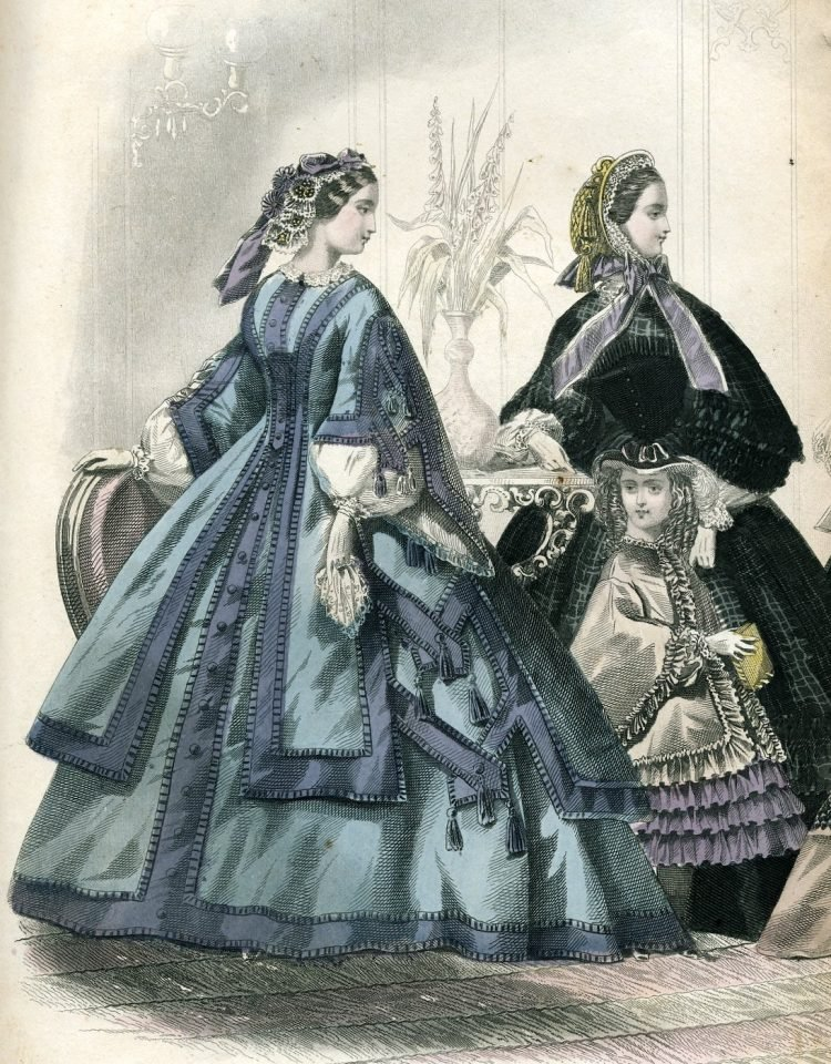 Civil war dresses - Colored fashion plates from 1861 (2)