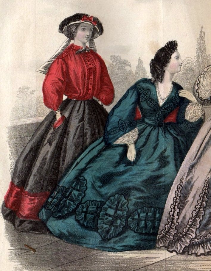 Civil war dresses - Colored fashion plates from 1862 (1)