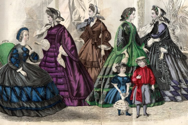 Civil war dresses - Colored fashion plates from 1862 (3)