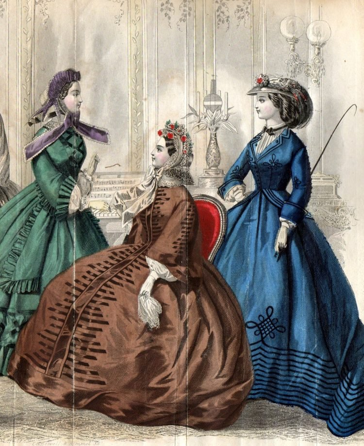 Civil war dresses - Colored fashion plates from 1862 (4)