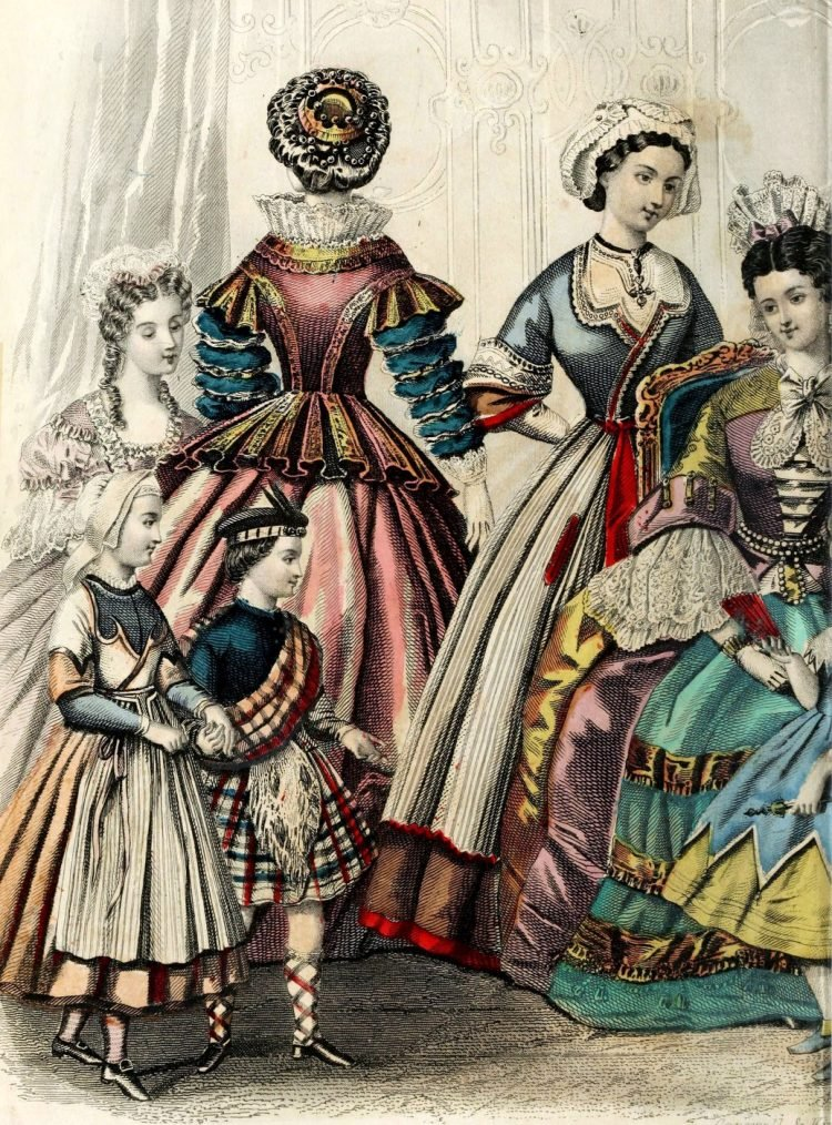 Civil war dresses - Colored fashion plates from 1863 (1)