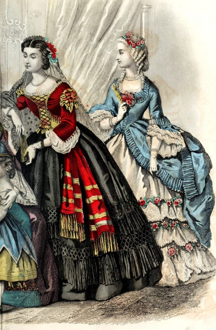 Civil war dresses - Colored fashion plates from 1863 (2)