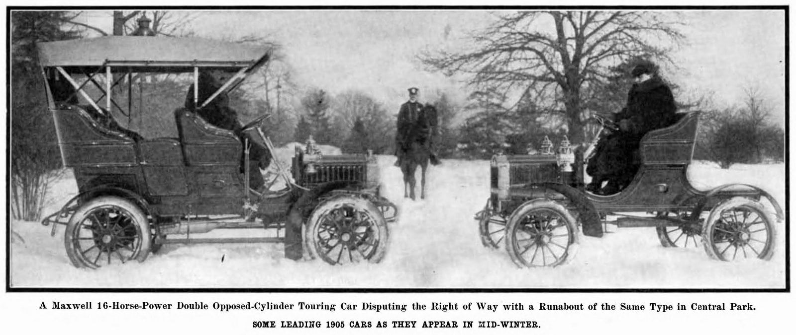 Classic 1905 Maxwell cars in Scientific American magazine