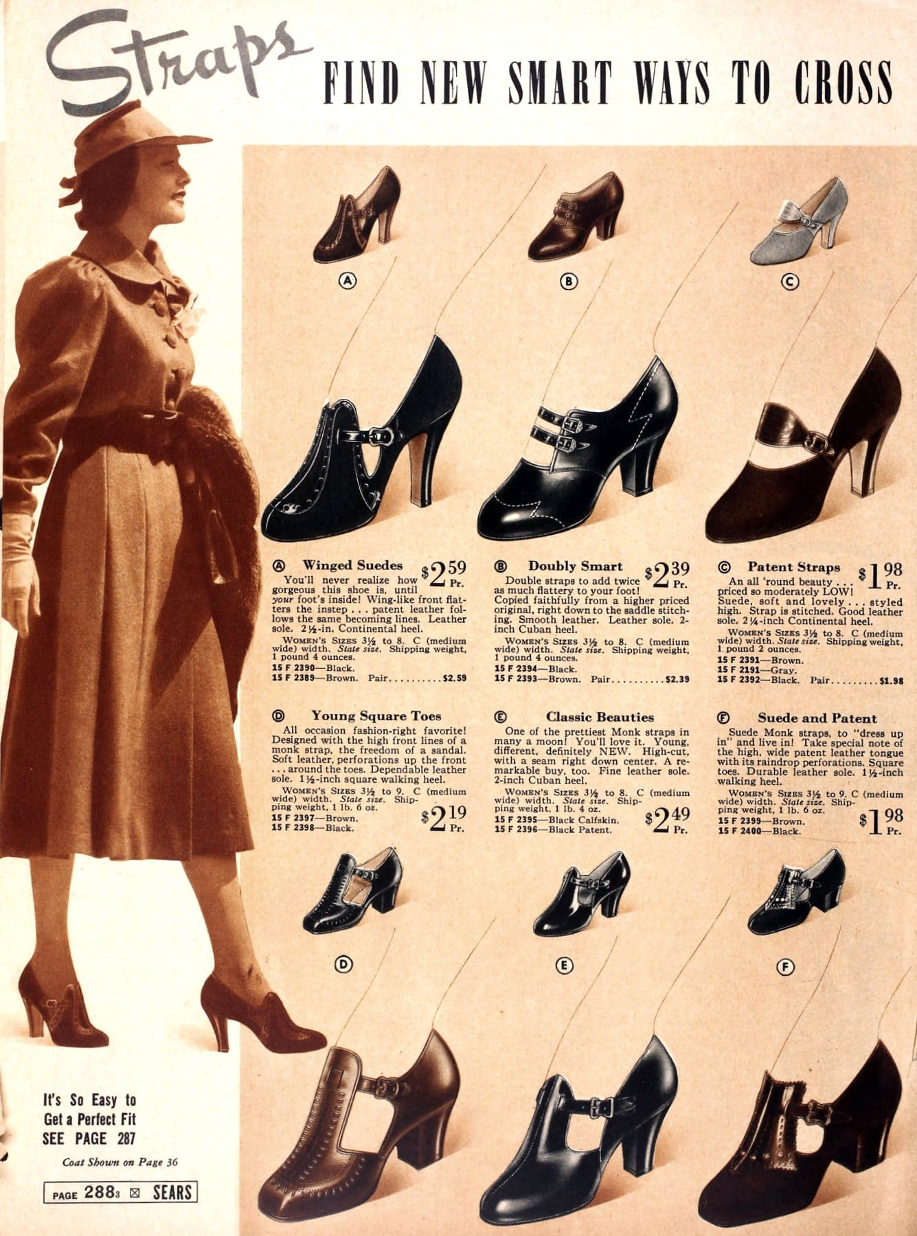 Classic 1930s shoes and heels with straips from 1937