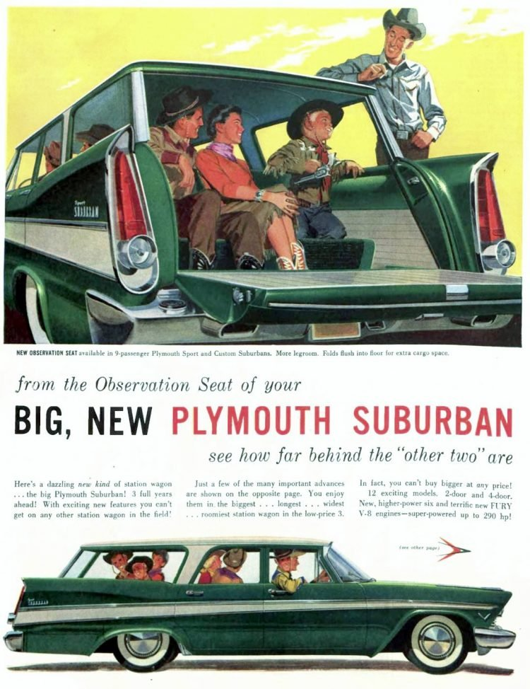 Classic 1957 Plymouth Suburban station wagons with rear-facing seats