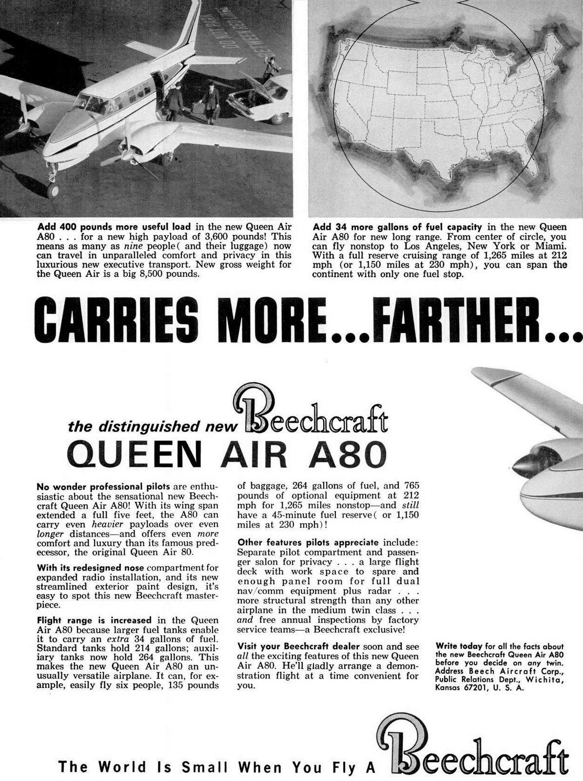 Classic 1960s Beechcraft Queen Air A80 propeller plane from 1963