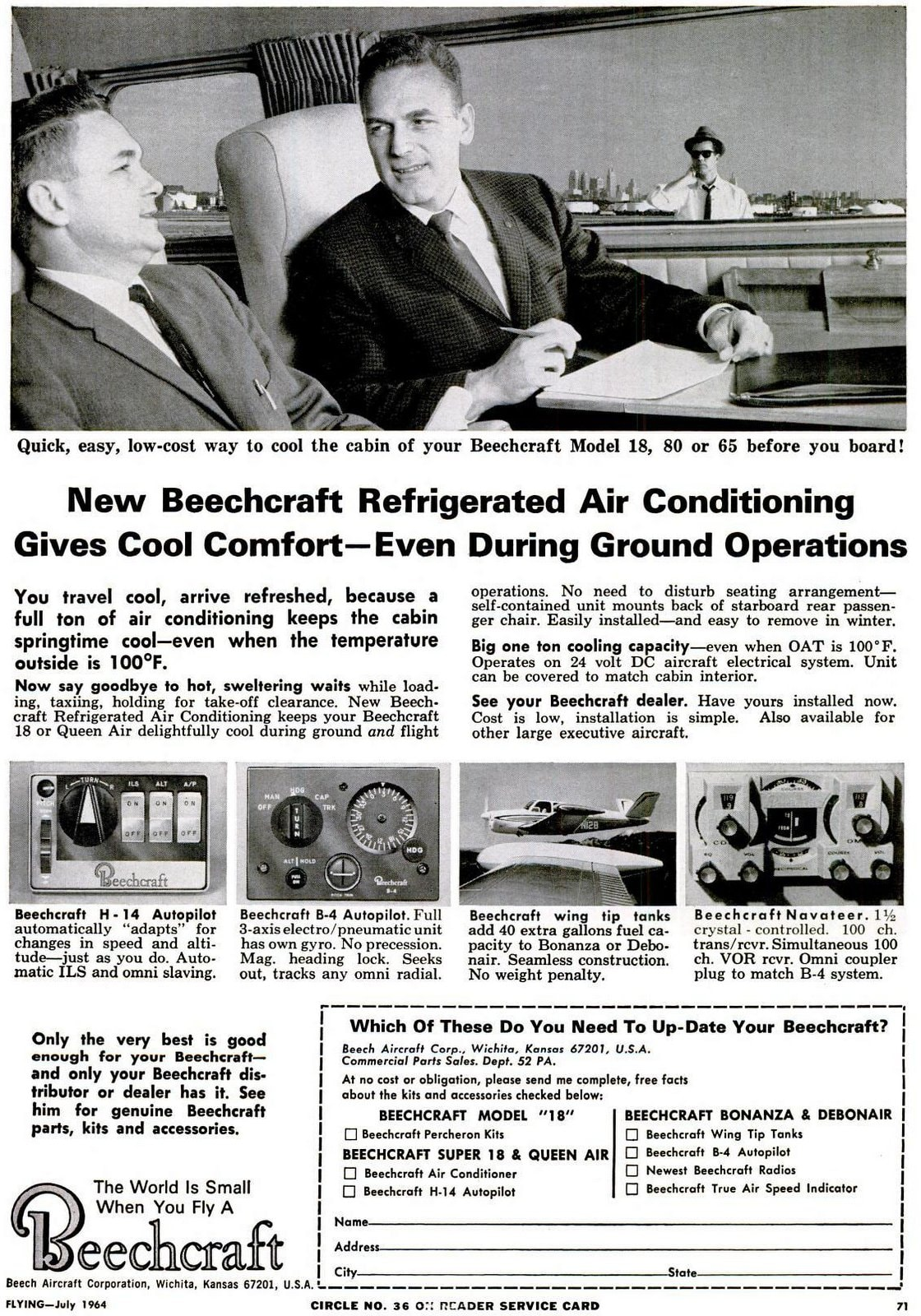 Classic 1960s Beechcraft propeller planes from with air conditioning (1963)