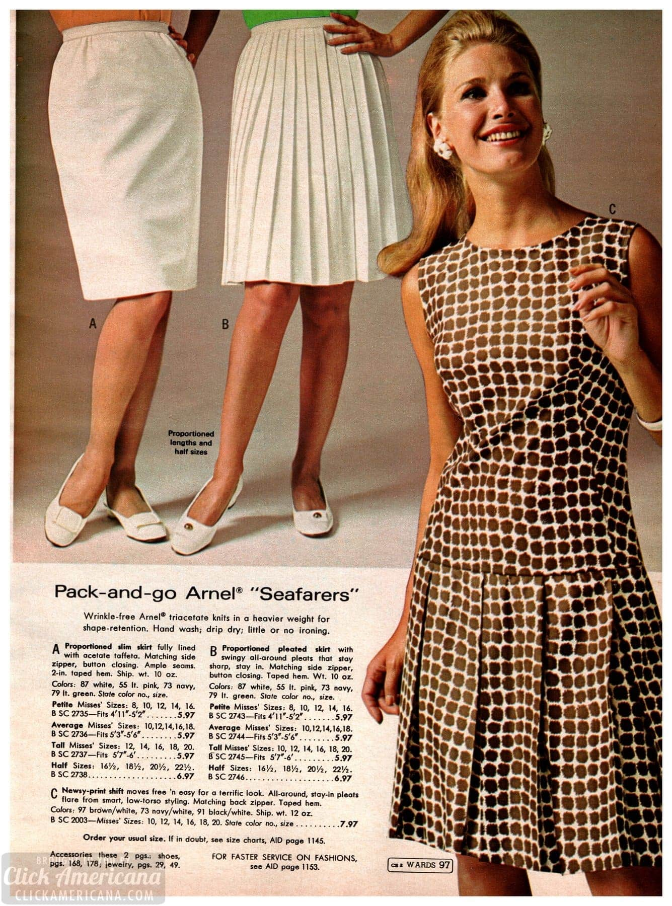 Classic Arnel skirts and dresses from Wards catalog 1968