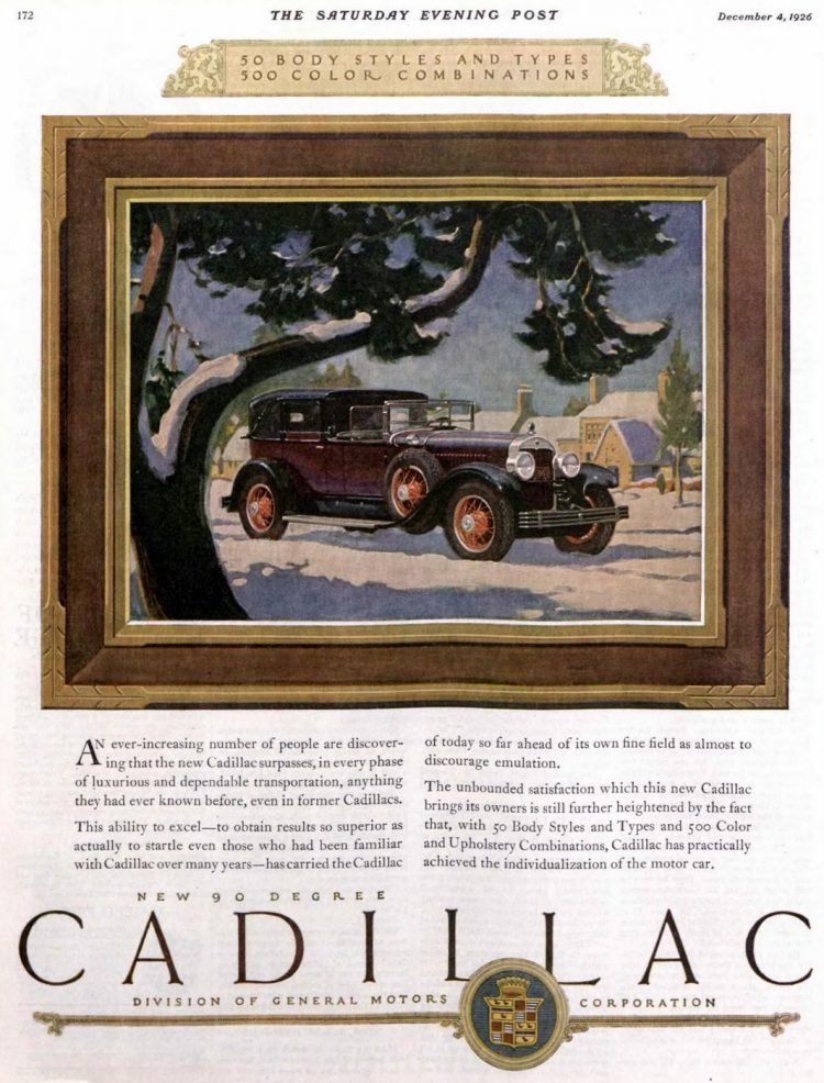 Classic Cadillac car ad from 1926-1927