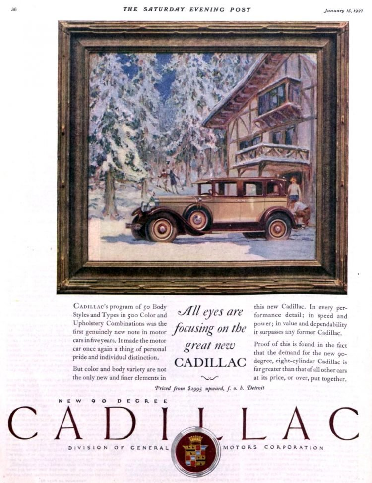 Classic Cadillac car ad from 1927