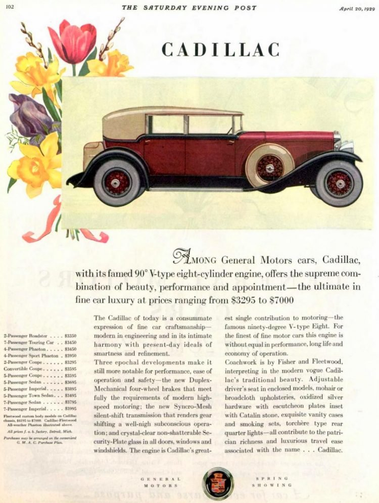 Classic Cadillac car ad from 1929