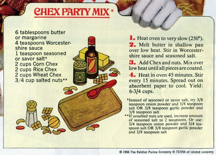 Classic Chex party mix recipe card from 1966