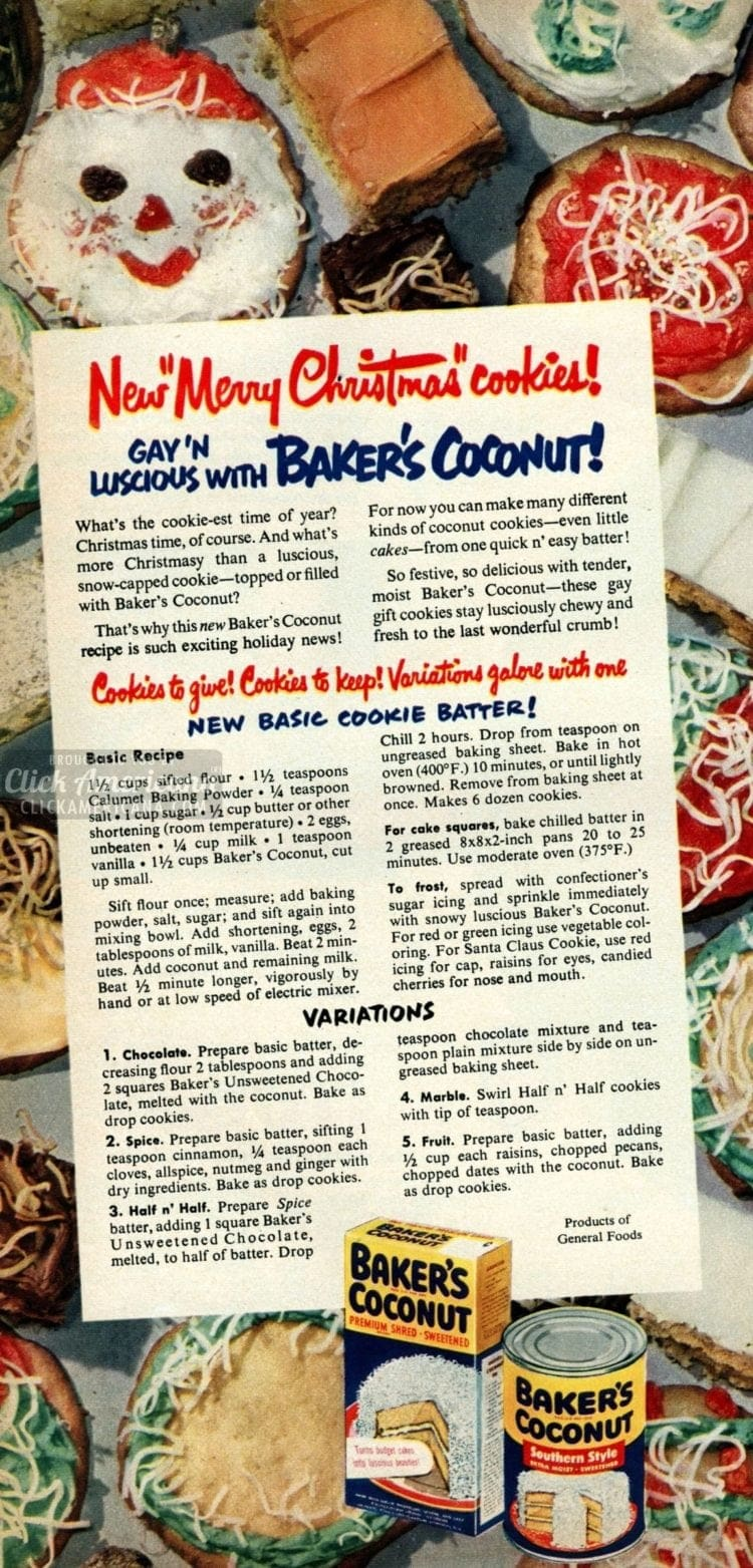 Merry Christmas Cookie recipes from 1950