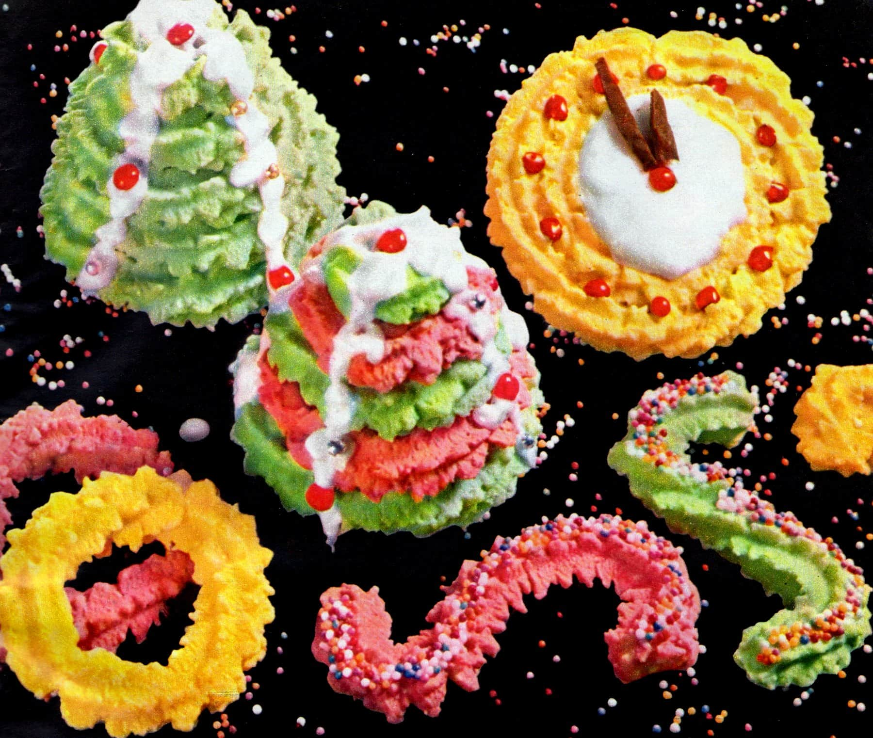 Classic Christmas spritz cookie designs & recipes (1961)
