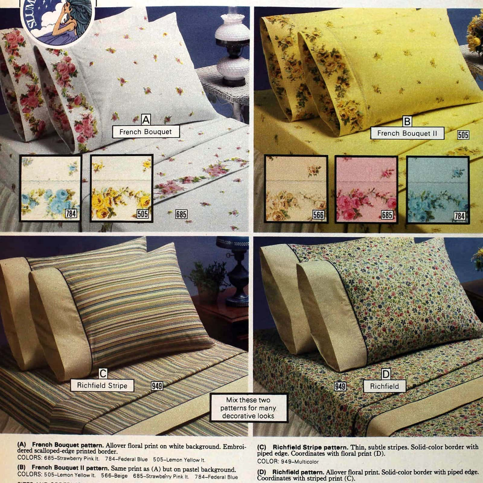 Classic French style floral and striped pattern sheets from the seventies