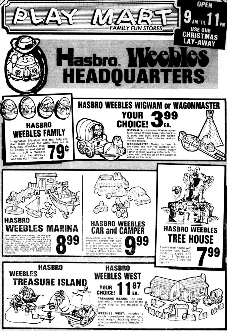 Classic Weebles toys from 1975 - Wigwam or Wagonmaster, Marina, Car & camper, Tree house, Treasure Island, Weebles West