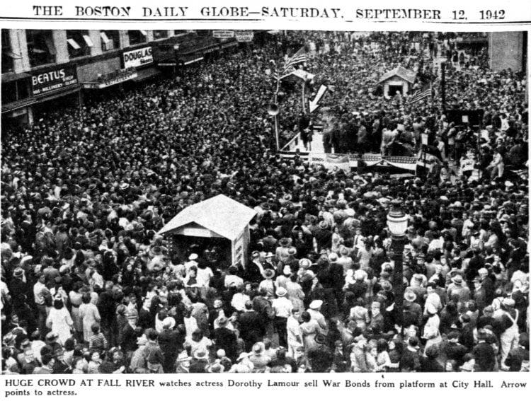 Dorothy Lamour in The Boston Globe (Boston, Massachusetts) September 12, 1942
