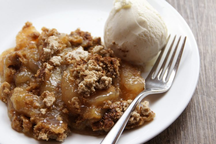 Classic apple dump cake recipe warm with ice cream