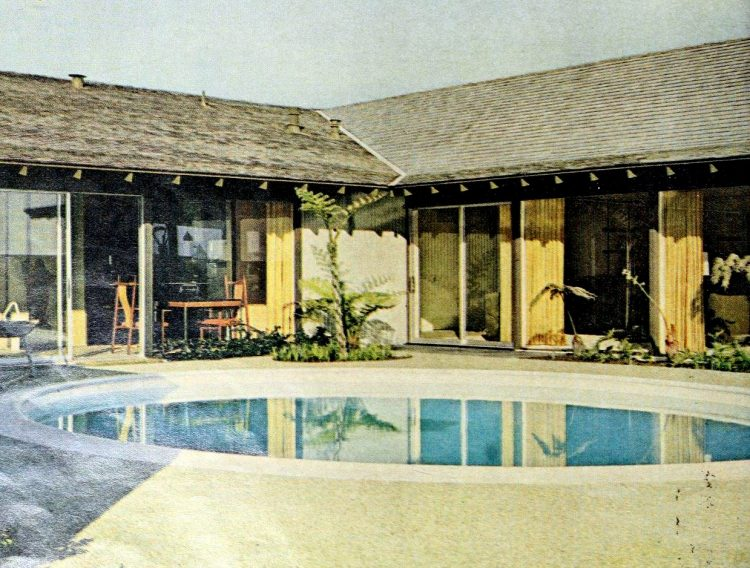 Classic backyard swimming pool design from 1963