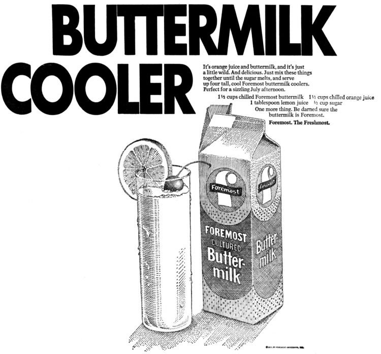Classic buttermilk cooler recipe (1971)