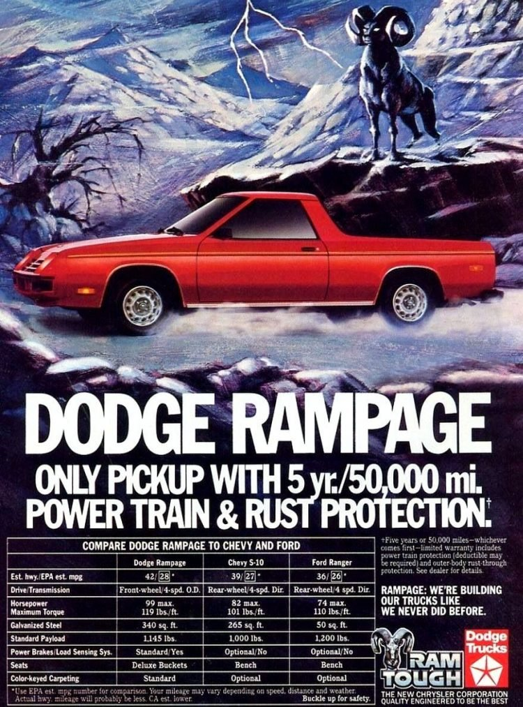 Classic cars - Dodge Rampage ad from 1983