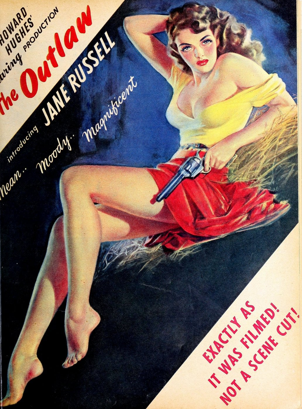 Classic film The Outlaw with Jane Russell - Howard Hughes movie