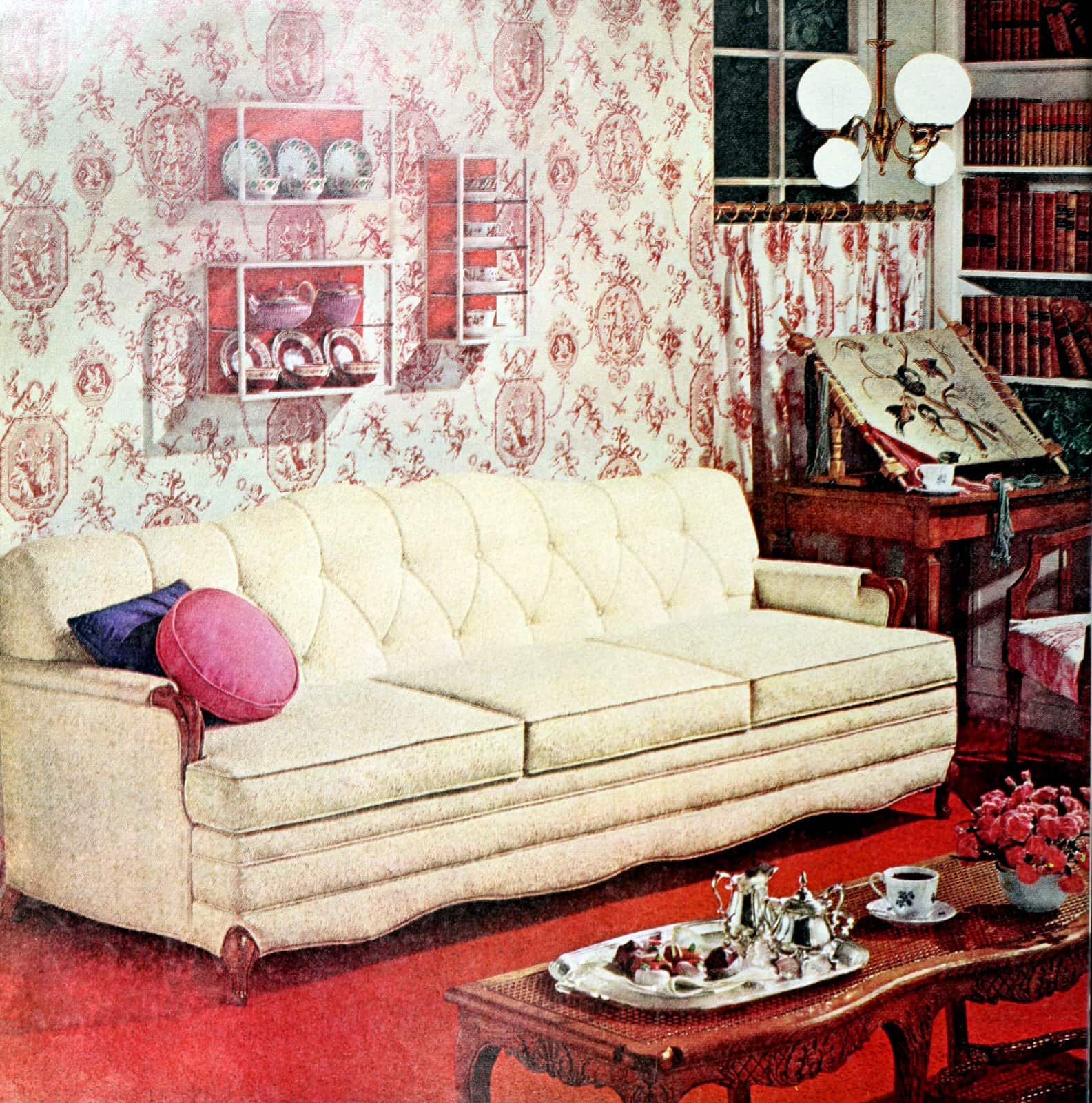 Classic home style in a sixties living room with red wall-to-wall carpet
