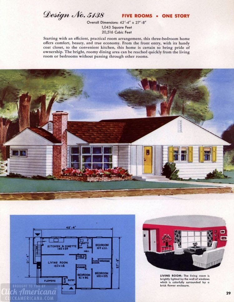 Classic house plans from 1955 - 50s suburban home designs at Click Americana (1)