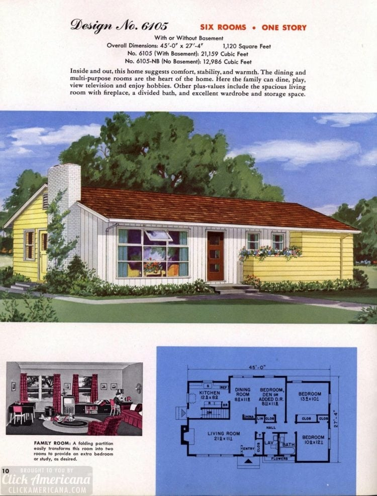 Classic house plans from 1955 - 50s suburban home designs at Click Americana (11)