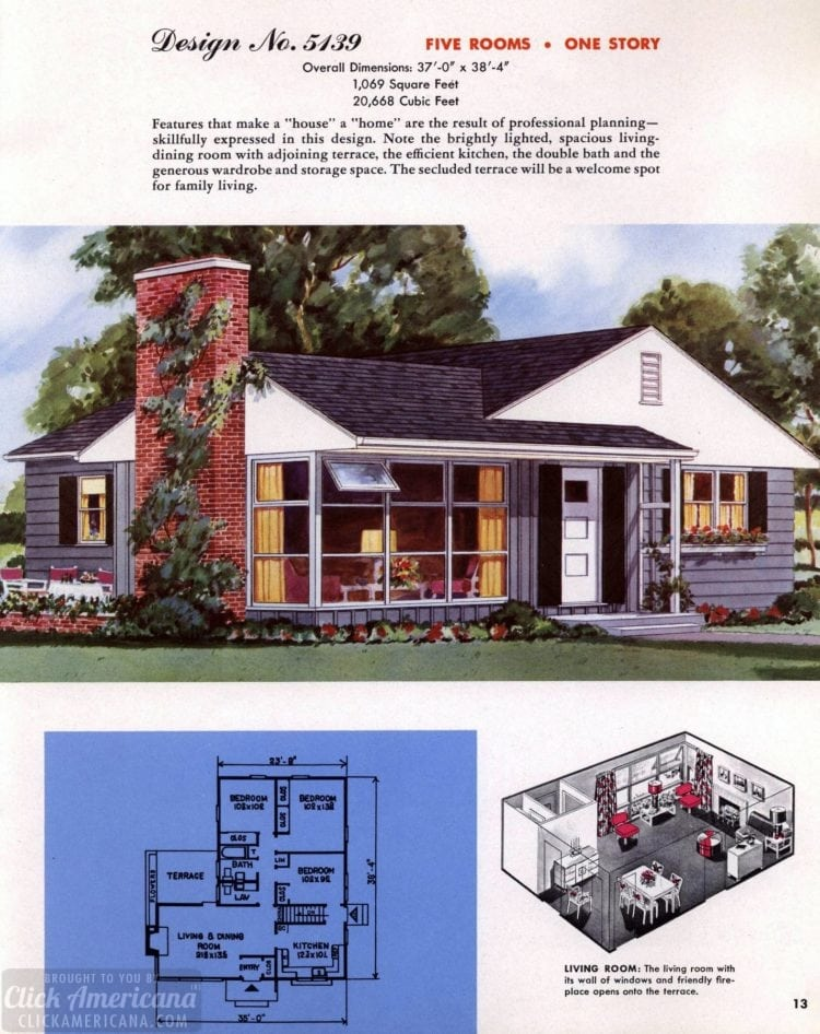 Classic house plans from 1955 - 50s suburban home designs at Click Americana (14)