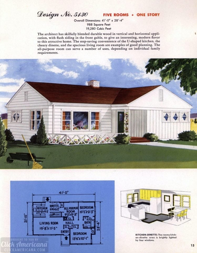 Classic house plans from 1955 - 50s suburban home designs at Click Americana (16)