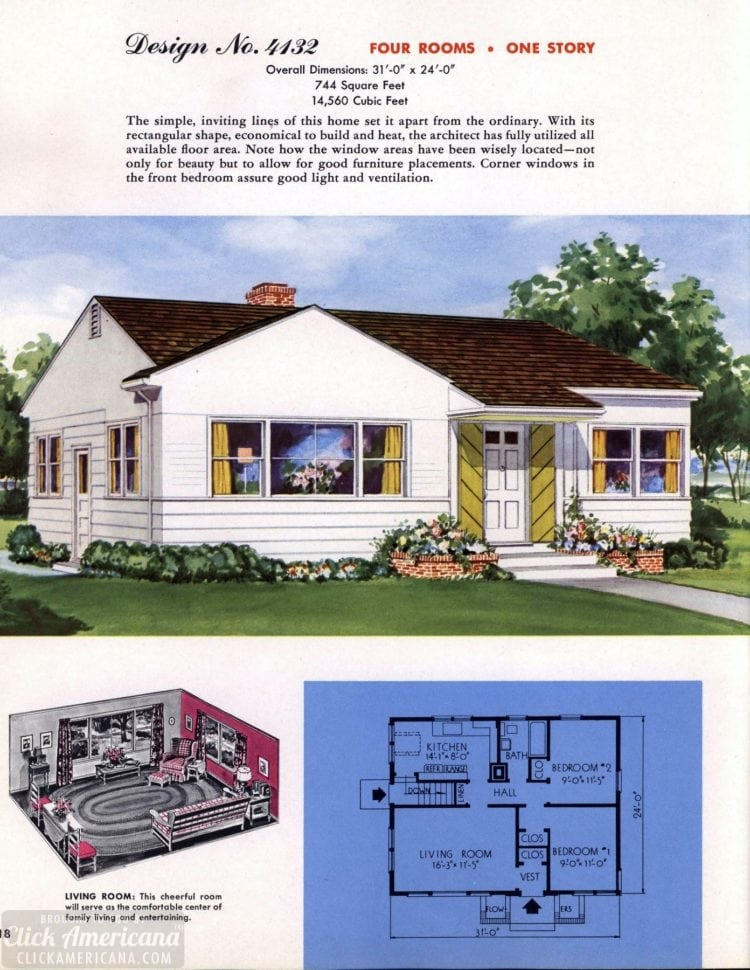 Classic house plans from 1955 - 50s suburban home designs at Click Americana (19)