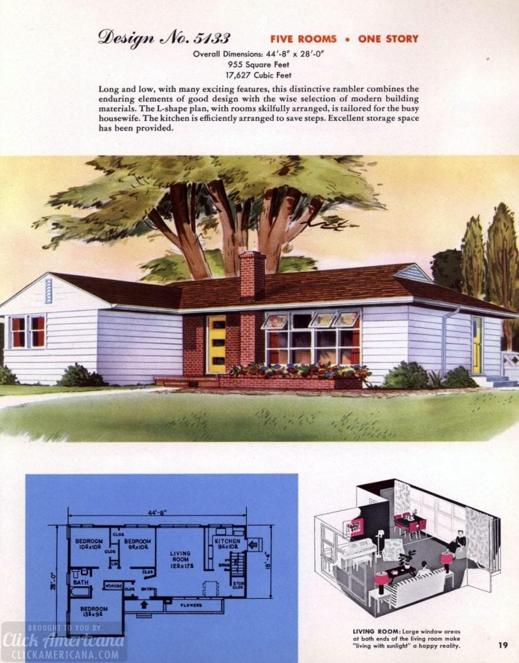 Classic house plans from 1955 - 50s suburban home designs at Click Americana (20)