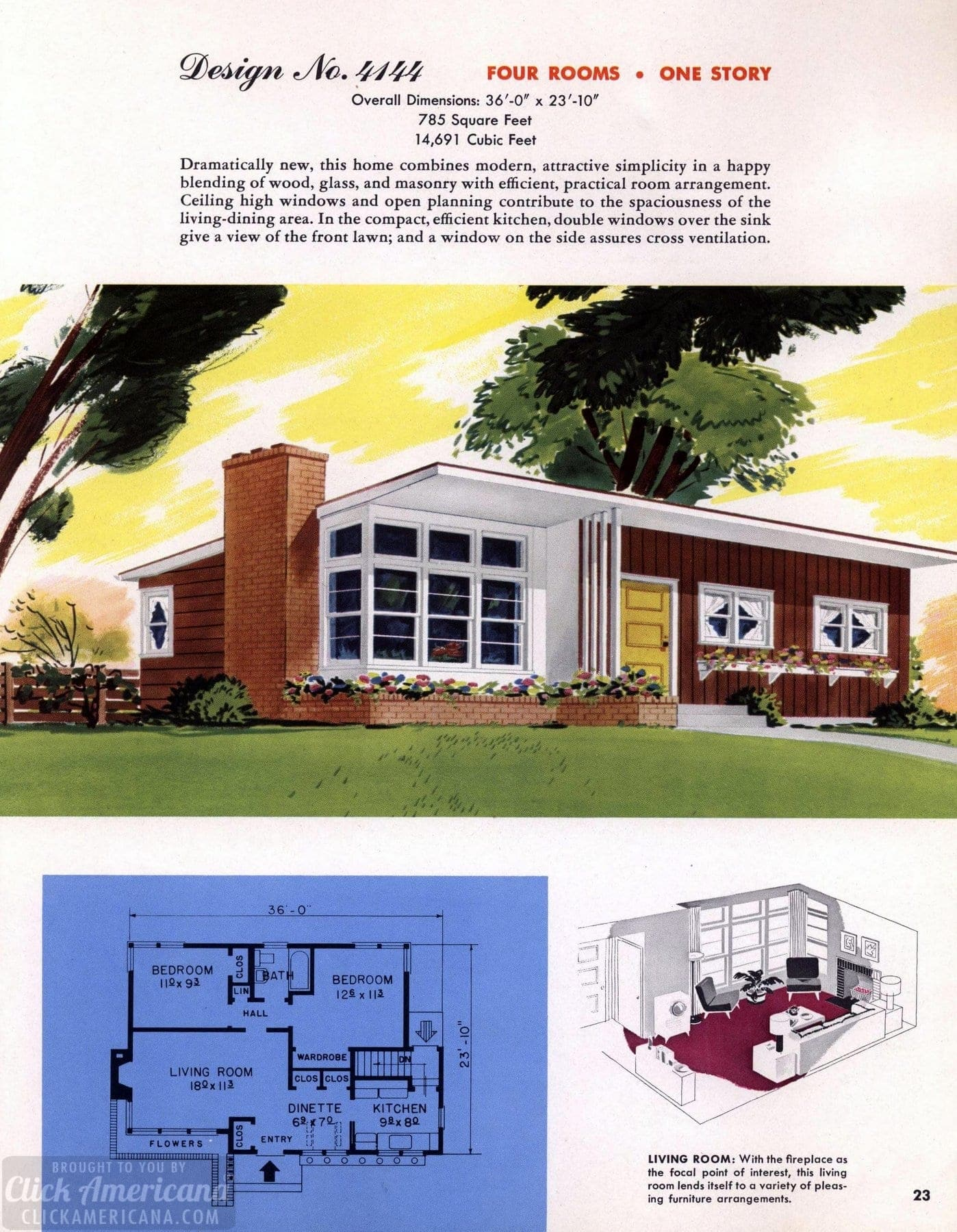 Classic house plans from 1955 50s suburban home designs at click americana 24