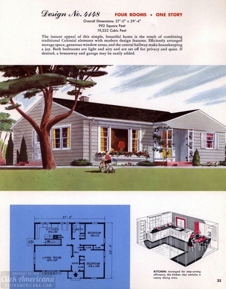Classic house plans from 1955 - 50s suburban home designs at Click Americana (26)