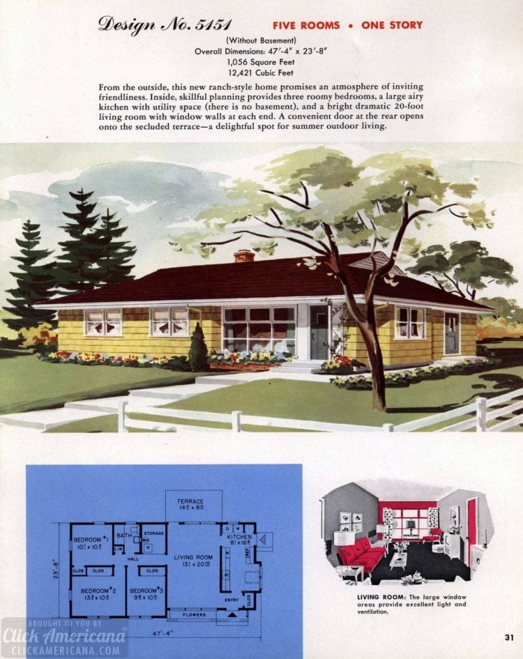 Classic house plans from 1955 - 50s suburban home designs at Click Americana (3)