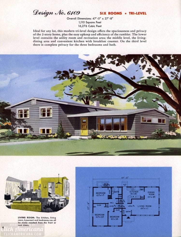 Classic house plans from 1955 - 50s suburban home designs at Click Americana (5)