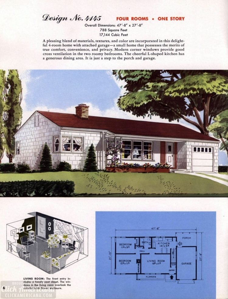 Classic house plans from 1955 - 50s suburban home designs at Click Americana (7)